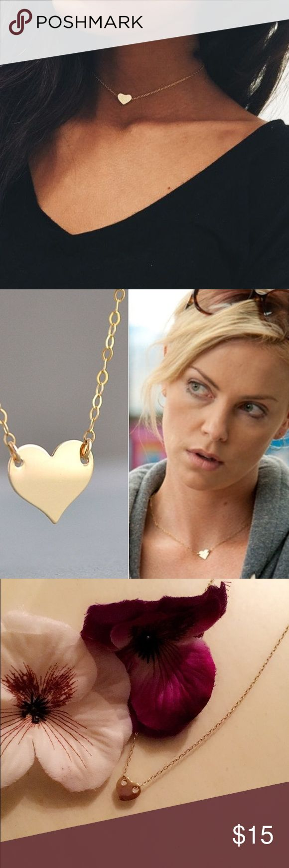 Heart choker necklace. Gold heart choker necklace. Jewelry Necklaces