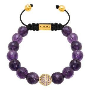 Nialaya bracelet purple diamond amethyst gold craved: 265€