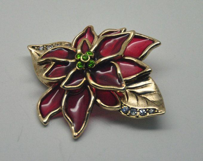 U3: Interesante rojo semitransparente moldeada plástico Lucite y broche de flor de Pascua de Navidad de diamantes de imitación--firmado LC