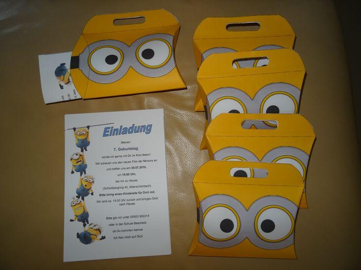 Einladung Geburtstag Kindergeburtstag Minions Popcorn Schachtel Kino