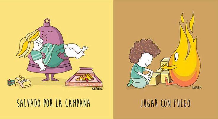 20 ilustraciones del significado literal de palabras y frases que usamos a diario