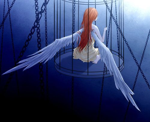 anime girl with wings trapped in a cage