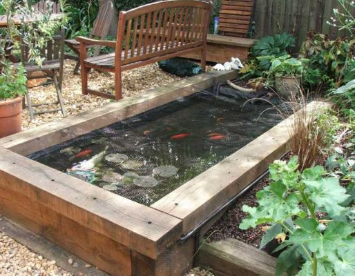 Steven Roe's railway sleeper landscaping - Koi Pond