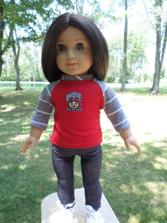 18 American Doll Ohio State T-shirt-Leggings-Gym Shoes