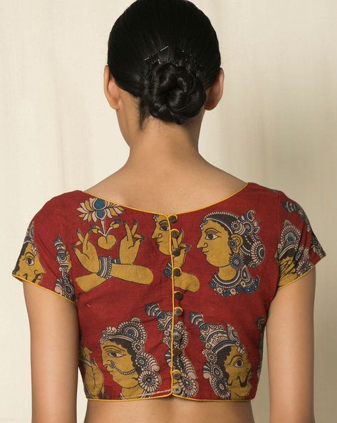 Buy Red Indie Picks Kalamkari Print Cotton Blouse | AJIO - blouses, off shoulder, golden, flower, long sleeve, formal blouse *ad