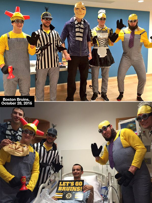 Boston Bruins Players Dress As Despicable Me Characters In Hospital Visit