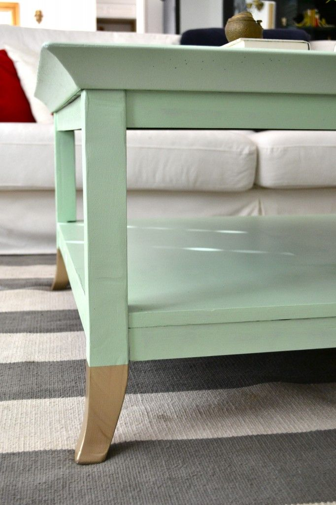 Re-painted Coffee Table, mint with gold feet!