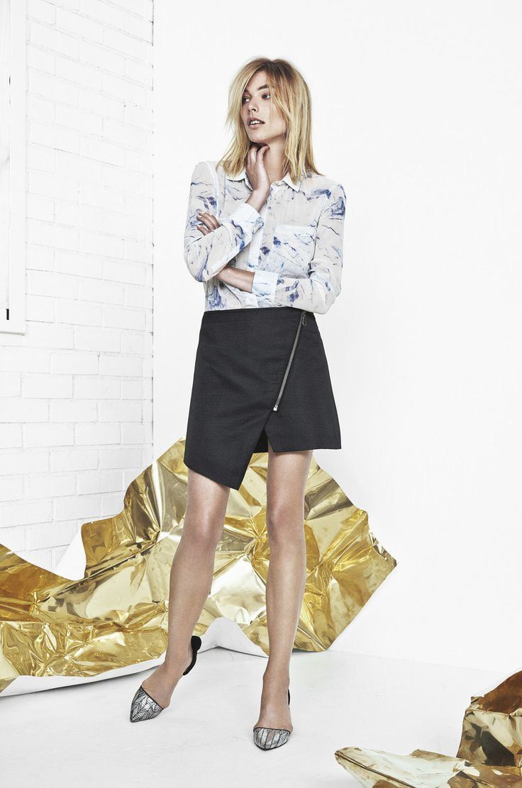 ANIMAL NITRATE CHIFFON SHIRT IN ICE PRINT AND LE TEMPS DE L'AMOUR POLYESTER DOBBY SKIRT IN ANTHRACITE BLACK http://fallwinterspringsummer.com