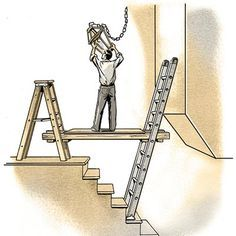 We show you how to reach high places when working on stairs without having to rent scaffolding by improvising a sturdy platform supported by ladders.   Illustration: Steve Sanford   thisoldhouse.com