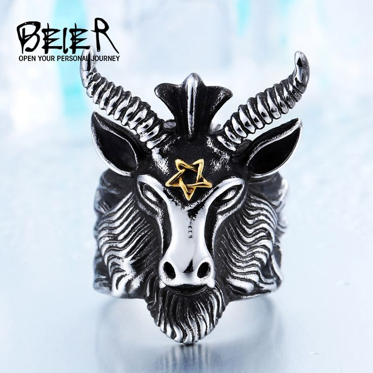 Vintage Punk Goat Head Ring Stainless Steel Big Goat Head Ring Unique Biker Punk Animal Jewelry  BR8-182