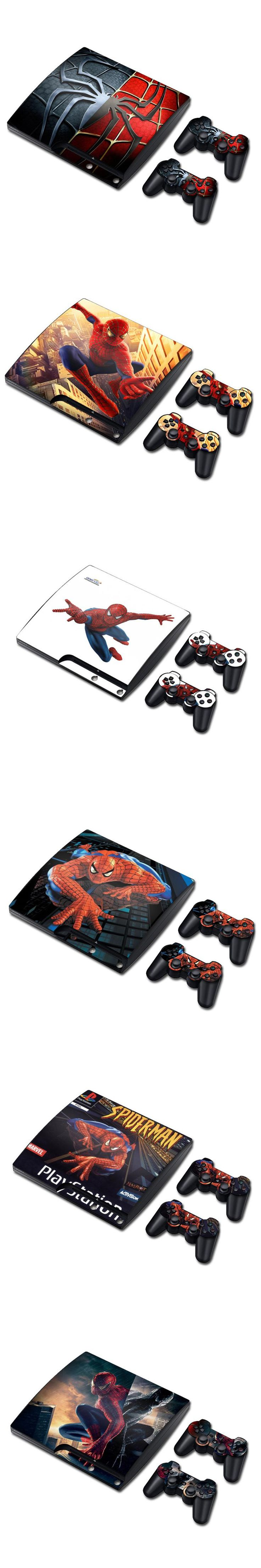 Spider Man Vinyl Decal Skin Sticker for PS3 Slim PlayStation 3 Slim Console with 2Pcs For PS3 Controllers Covers