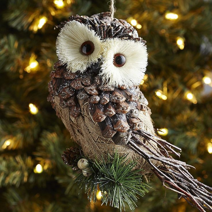 Natural Frosted Pinecone Owl Ornament
