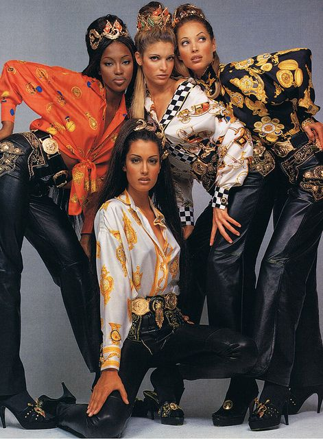 Naomi Champbell, Stephanie Seymour, Christy Turlington, and Yasmeen Ghauri for Versace.