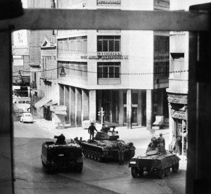 Mixed armored vehicles (M113, M24 Chaffee and an M8 Greyhound) and Greek infantry take position on Omnia Place in Athens after a coup, 27 April 1967