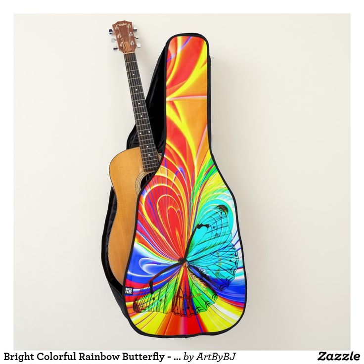 Bright Colorful Rainbow Butterfly - on Acoustic Guitar Case, but you can also order this on an Electric Guitar Case. . . . A wonderful Birthday Present or Christmas Gift for your Guitar Player.