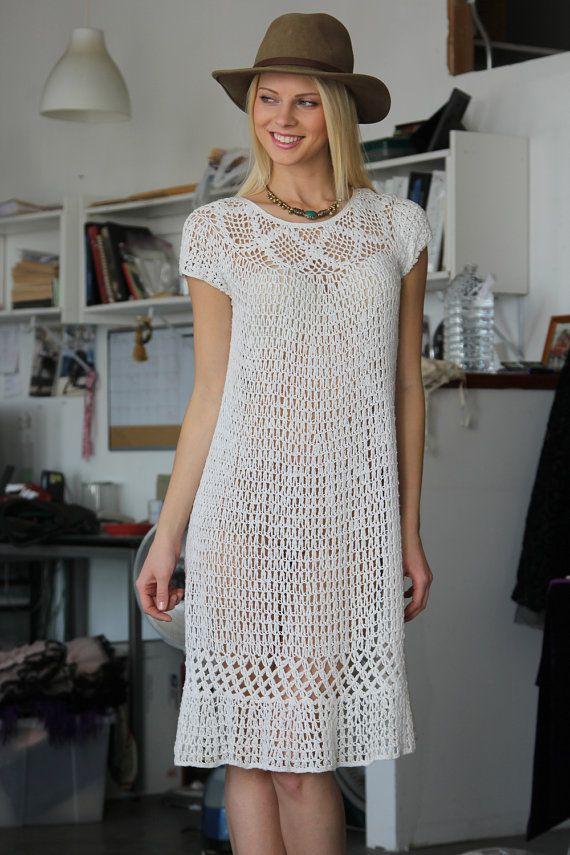 Vtg 70s White Boho Hippie Crochet Lace Dress by VINTAZIAVintage