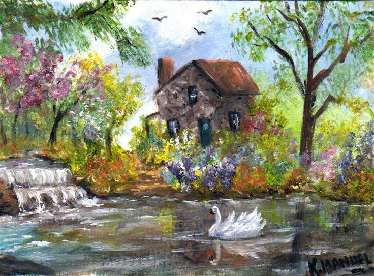 Aceo Miniature Oil Painting Quot Spring Cottage Quot Waterfalls