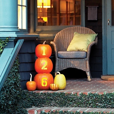 Fall Front Porch Decorating Idea  I like the house number on pumpkins!