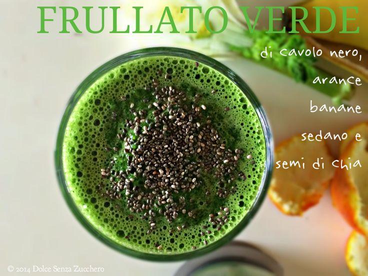 Frullato Verde Energetico (Cavolo Nero, Arance e Banane) è una bevanda senza zucchero, vegan e crudista, energizzante e senza glutine, biologica e naturale