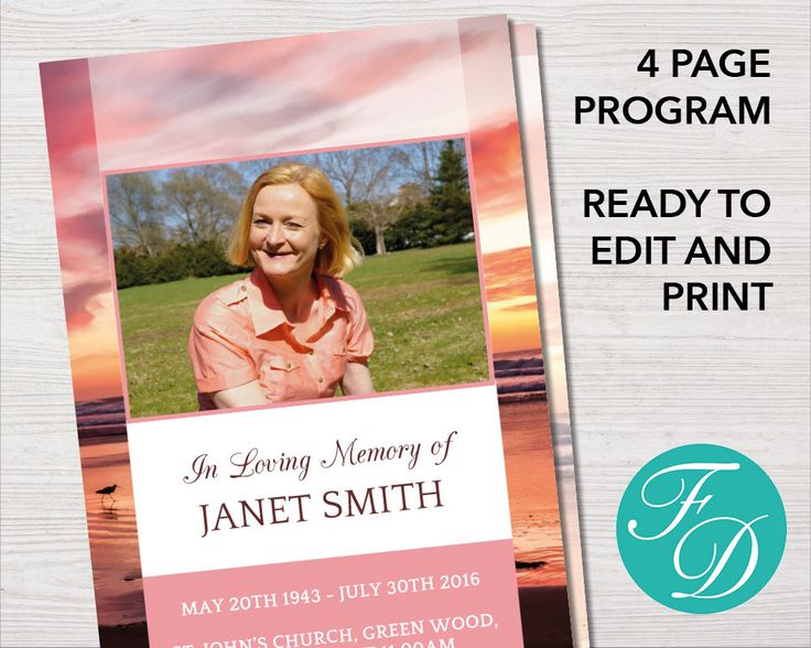 Best Pink Funeral Program Templates Images On