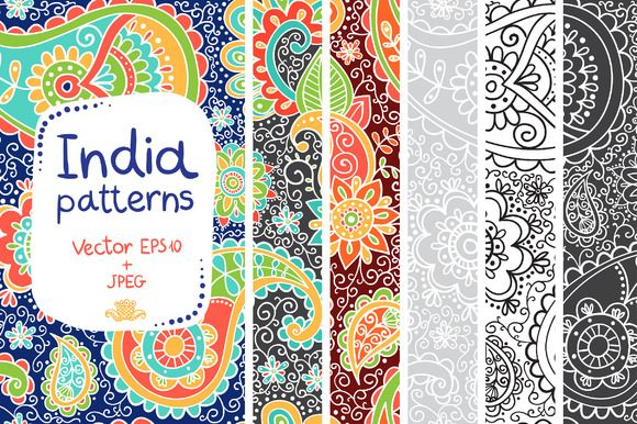 Indian patterns in Vector and JPEG by whynot on Creative Market
