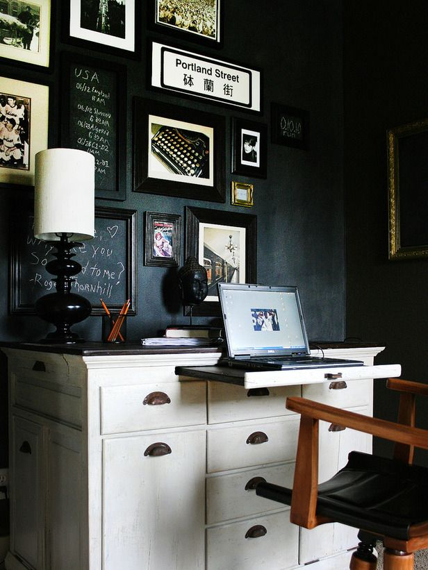 Chalkboard paint gallery wall: Offices Spaces, Chalkboards Paintings, Galleries Wall, Black White, Earth Day, Chalkboards Wall, Art Wall, Home Offices, Black Wall