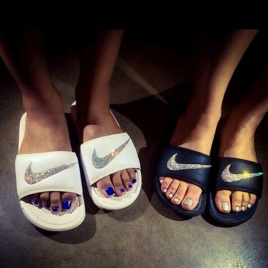 Bedazzled Nike slides