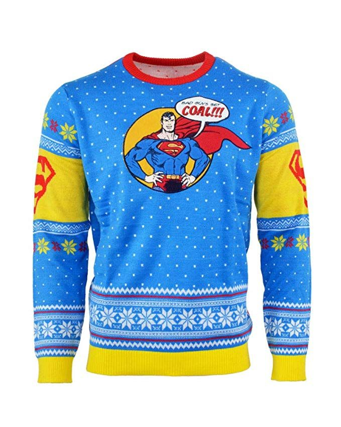 Superman Ugly Christmas Sweater Bad Guys Get Coal For Men Women