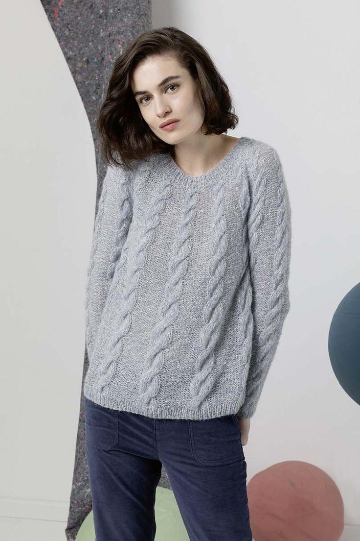 Пуловер регланом с косами Бесплатное описание