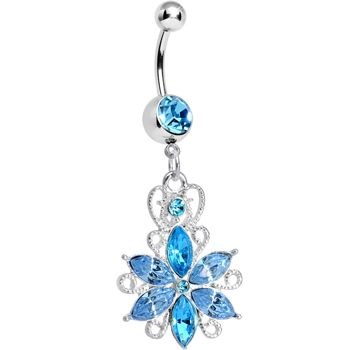 Aqua Gem Heavenly Jasmine Flower Dangle Belly Ring | Body Candy Body Jewelry #bodycandy #bodyjewelry