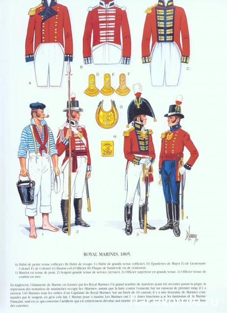 Royal Marines uniforms, 1805. L-R: Officer's undress, private's, officer's dress coats, epaulettes for a Major, Lt-Col, Colonel, officer's gorget, officer's cross-belt plate, private in working dress, Sergeant, officers in dress, officer in undress.