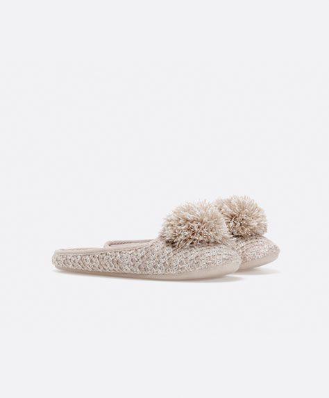 Woollen mule slippers with pompom trim - OYSHO