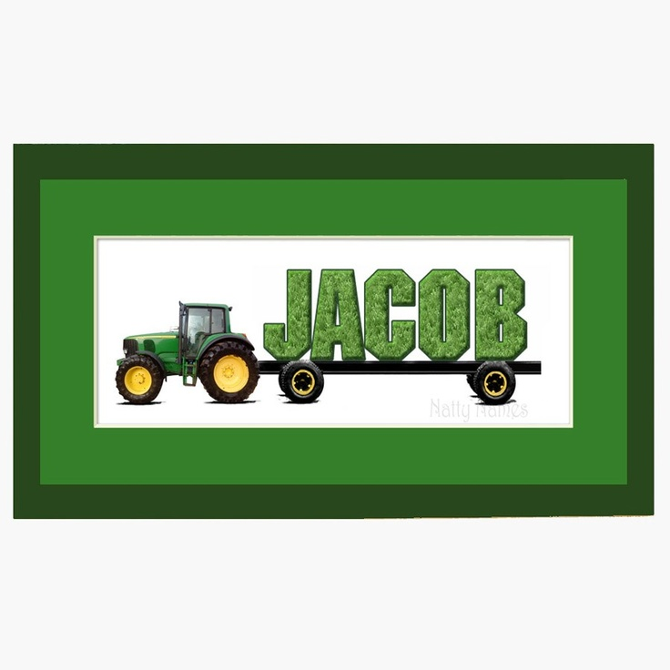 John Deere Tractor Personalized Name Print - Framed. $24.00, via Etsy.