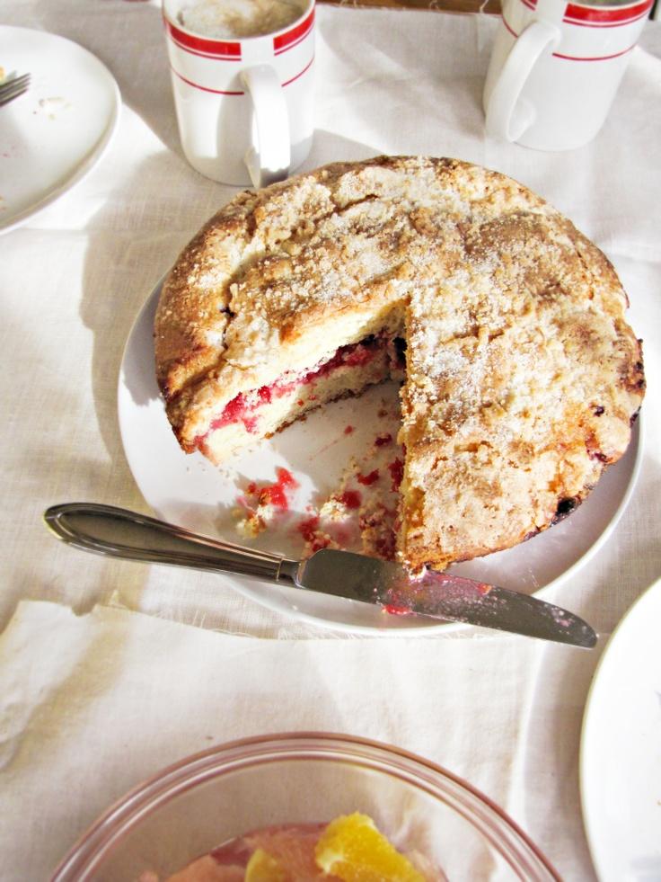 Cranberry Vanilla Coffeecake by katieatthekitchendoor #Coffeecake