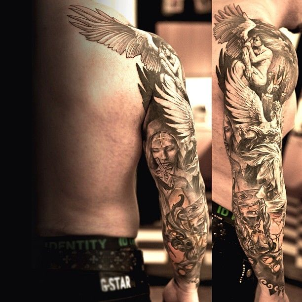 5b103390c Tattoo by Niki Norberg at Wicked Tattoo in Göteborg, Sweden | Art that I  love | Sleeve tattoos, Angel tattoo men, Angel sleeve tattoo