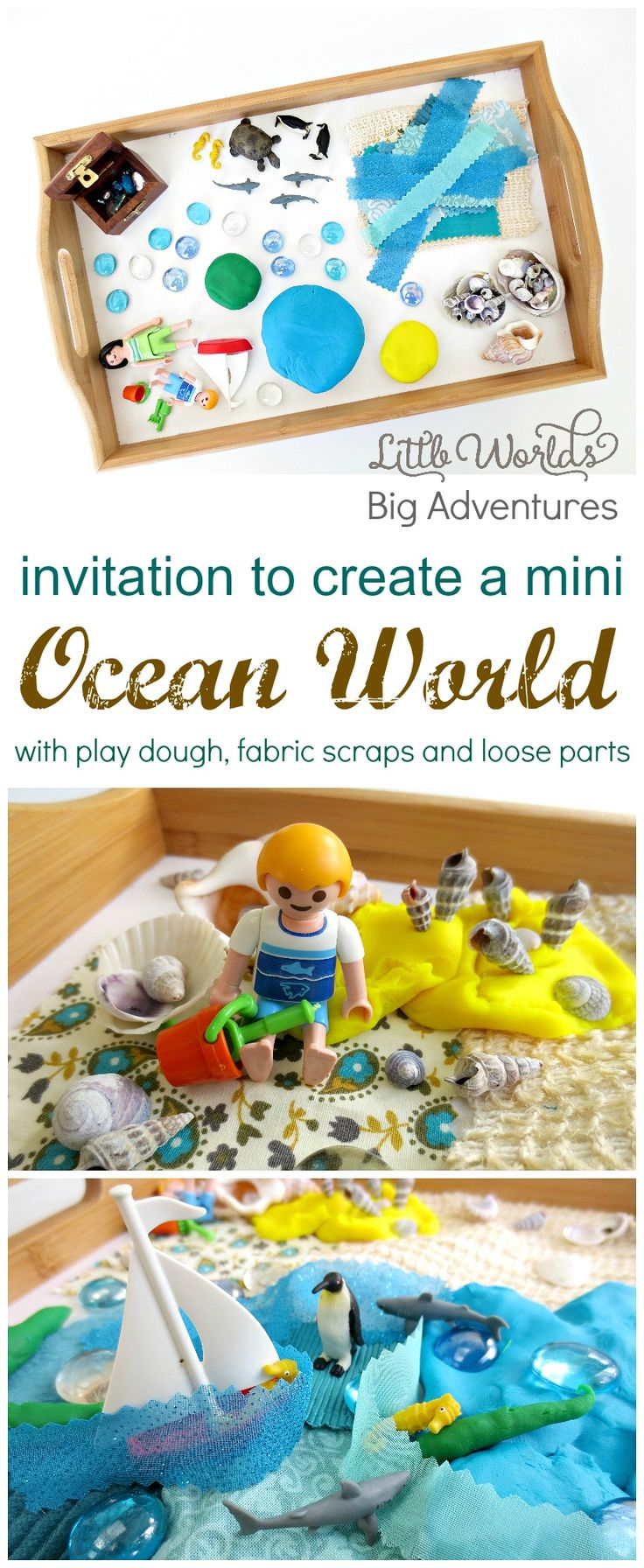 Invitation to Create a Mini Ocean World with Play Dough, Fabric Scraps and Loose Parts, Small World Play at it's Best! | Little Worlds Big Adventures