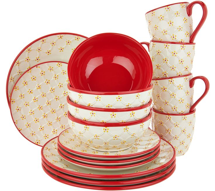 """Temp-tations Infinity 16-Piece Dinnerware Set in green, blue black, Brown, and red. Available from acc.com., item # H-212317. Feeling fun and festive? Add a pop of color to your tabletop and enjoy the look of coordinated and pleasing place settings with this 16-piece ceramic dinnerware set. Includes four 10-1/2"""" dinner plates, four 8"""" salad plates, four 8"""" bowls, and four 16-oz mugs Old World Infinity pattern Ceramic construction Dishwasher-, microwave-, and freezer-safe; oven-safe to 500F"""