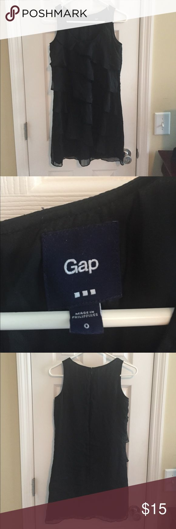 GAP black ruffle mini dress Good condition! Super cute cocktail dress! Back zipper. 100% polyester. GAP Dresses Mini