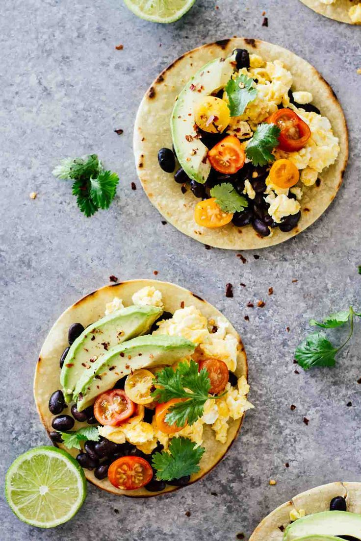 The BEST Healthy Breakfast Tacos! Vegetarian, gluten-free, and only takes 15 minutes to make this recipe. I'll take these for breakfast, lunch, or dinner!