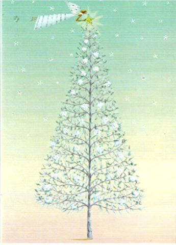 Roger la Borde Fairy White Tree Boxed Christmas Cards Box of 10 Cards