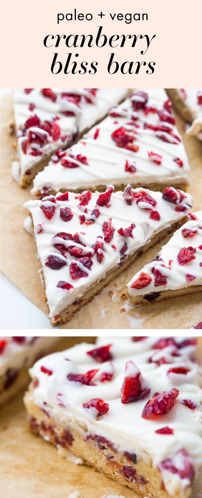 Paleo Cranberry Bliss Bars (Vegan Cranberry Bliss Bars)