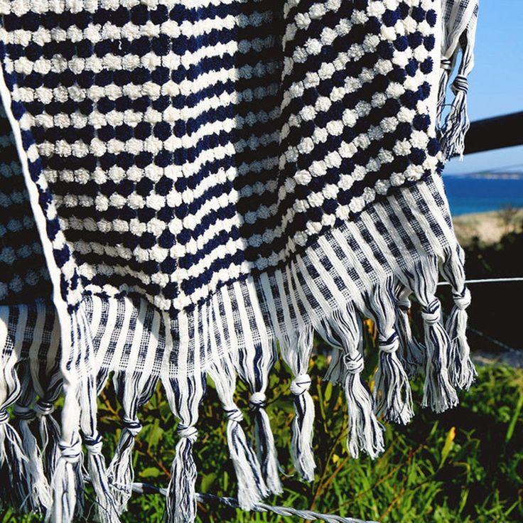 Pom Pom Turkish Towel - Navy and White