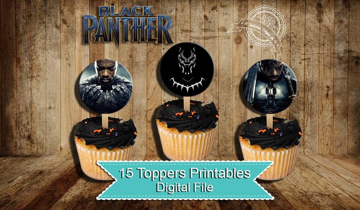 Black Panther, Black Panther Toppers , Black Panther Birthday, Black Panther Party, Cupcake Toppers, panther, instant download, digital file