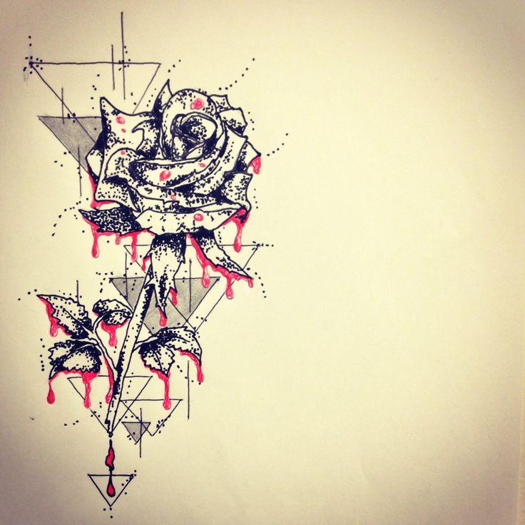 rose art tattoo sketch by