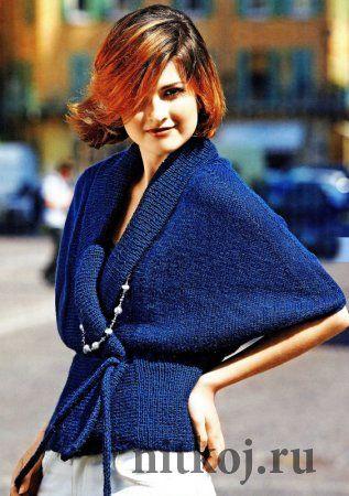 Синий жакет спицами для женщин