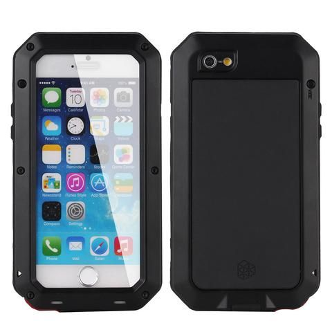 Luxury Aluminium Shockproof Waterproof Tempered Glass Metal Case for iPhone 6 6s 7