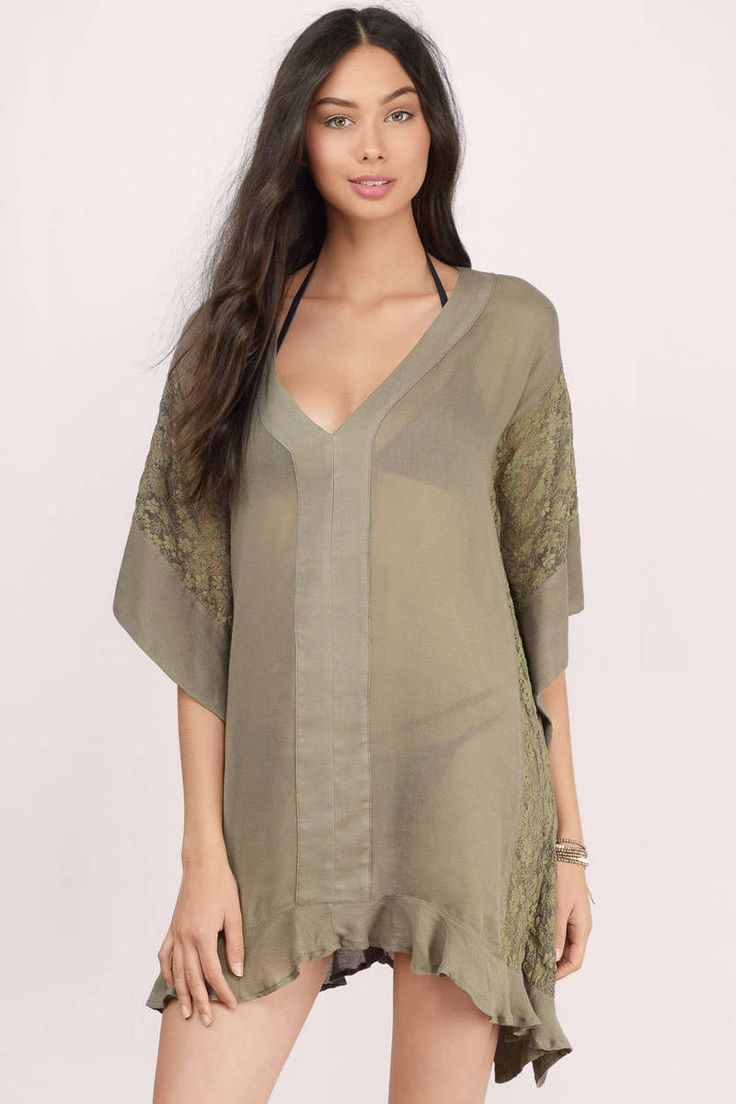 Lorelai Olive Patterned Cover Up Dress