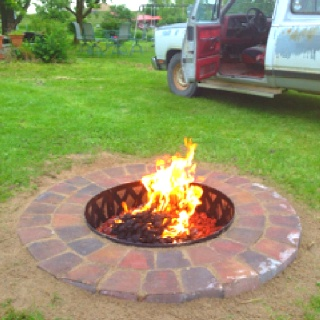 In ground fire pit did it myself from start to finish ...