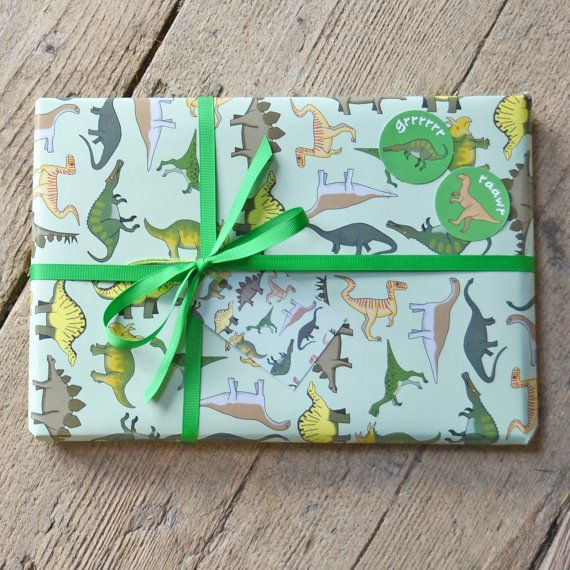 Dinosaur Wrapping Paper - Dino, Prehistoric, Green, Giftwrap, Gift Tags - free UK postage