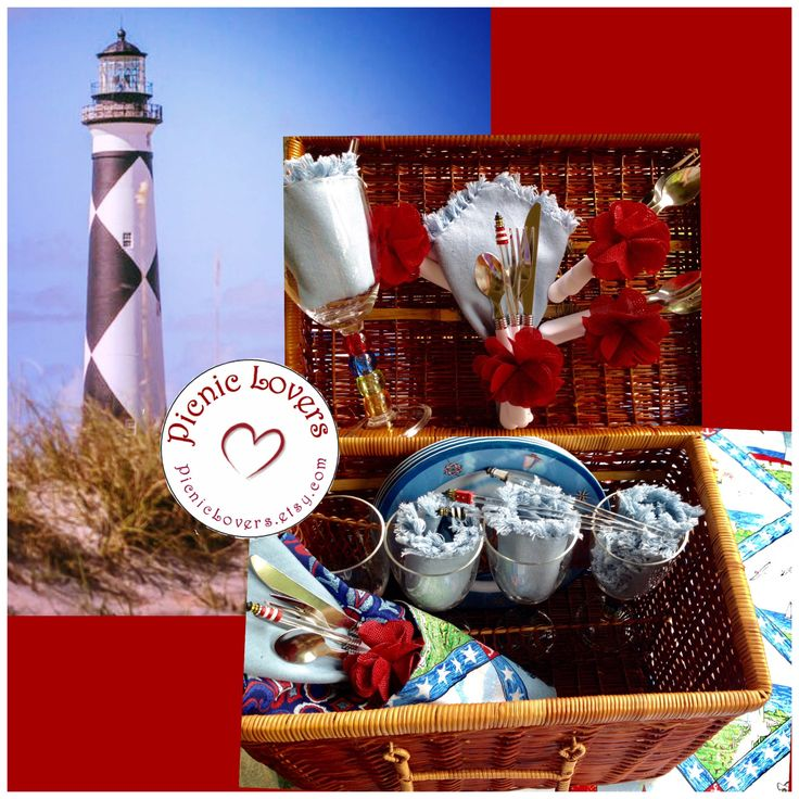 Lighthouse Picnic Cloth - Wedding Gift - Picnic Basket Set for 4  - Vintage Basket, Cloth Napkins, & Cutlery - Glamping - Item #PL033 by PicnicLovers on Etsy